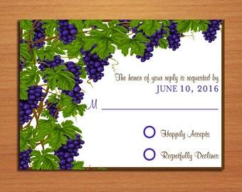 Wine / Vineyard Wedding RSVP Postcard PRINTABLE / DIY