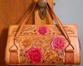 1950's Purse // Mexican Tooled Leather Purse with Red Roses