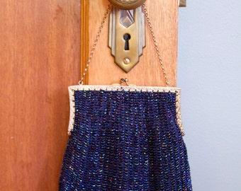 1920s Beaded Purse // Iridescent Dark Blue Beaded Handbag