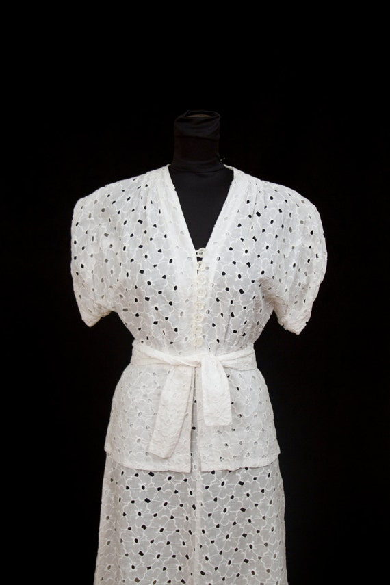 1940s Dress Set //  Light and Airy White Blouse and Skirt Set in Floral Eyelet Cotton