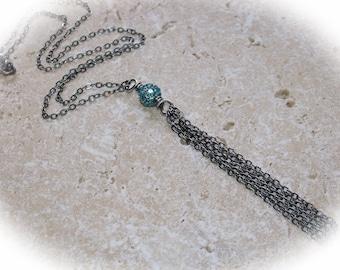 Caribbean blue cubic zirconia tassel necklace