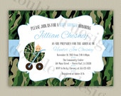 Camouflage Baby Shower Invitation - Printable Camo Invitation with Color Options