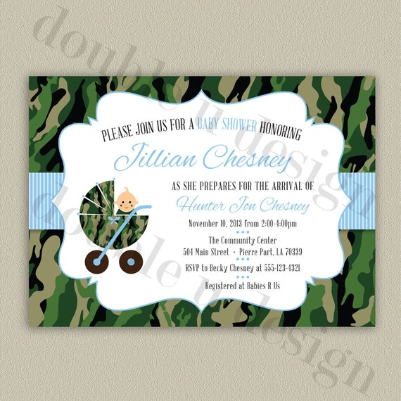 camouflage baby shower invitation printable camo invitation with