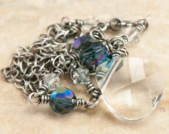 Navy Necklace | Oxidized Sterling Silver | Swarovski Elements | SALE Necklace