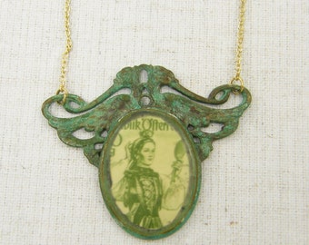 Mixed Media Necklace Green Pendant Necklace, Verdigris Necklace, Victorian Style Cameo Assemblage Necklace Scroll Necklace |NC1-7