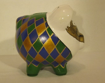 Personalized, Handpainted, Mardi Gras Piggy bank - MADE TO ORDER