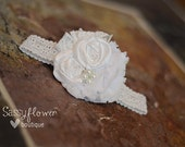 White Silk Rosettes with Lace and Chiffon Accents and Pearl/Jewel Center on a Lace Headband