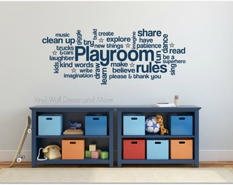 Playroom Rules Cloud Art- Playroom decal.  Children's Decal
