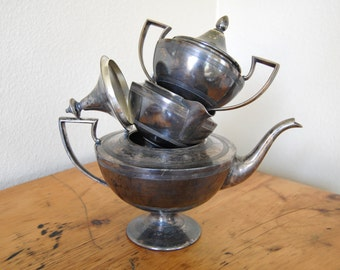 Vintage Art Deco Silver Plated Tea Set, Vintage Forbes Silver Co Silver Plated Tea Set, Vintage Art Deco Tea Set from The Eclectic interior