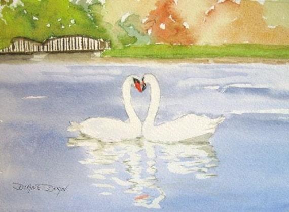 Kissing Swans Make a Heart print of original watercolor painting