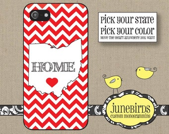 Personalized Iphone 4/4S and Iphone 5/5S Cell Phone Case - Personalized State Ohio - Red & White - HOME