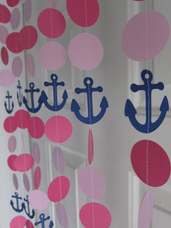 Paper garland anchor decorations beach birthday party for Baby shower nautical decoration