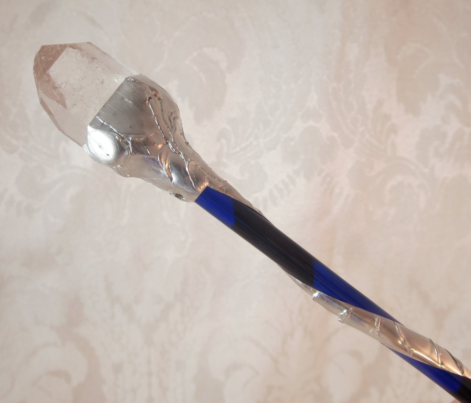 Cobalt blue quartz crystal wand for Static wand