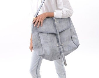 Unique and Stylish Leather Handbag in Rough White, Large Fashion Hobo Bag for Everyday Wear, Chic Casual Bag, Oversized Leather Sack Pack