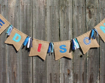 Custom Burlap Name Banner, Personalized Burlap Bunting, Customized With Your Name and Colors