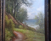 A Path by the Lake:  oil painting by Harald Wentzel  Listed Artist
