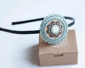 Felt flower headband in brown, ivory and green blue