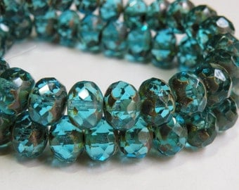 Capri Blue Picasso finish fire polished Czech faceted multicolored glass rondelle beads 10x6mm half strand NR-832