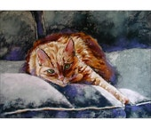 SALE 20 OFF Orange Cat Art - cat art print - 7 x 5