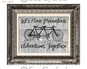 Marvelous Adventures Together Bicycle Built for Two on Vintage Upcycled Dictionary Art Print Book Art Print Wedding Anniversary Love Tandem