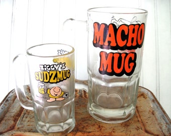 Ziggy beer mugs brewiana macho sudz vintage octoberfest bar decor pair of mugs giant beer mug