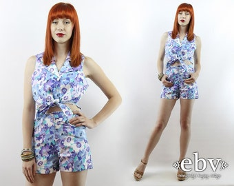 Matching Set High Waisted Shorts Two Piece Set Two Piece Outfit Separates Cropped Top Vintage 90s Blue Floral Crop Top + Shorts Outfit XS S