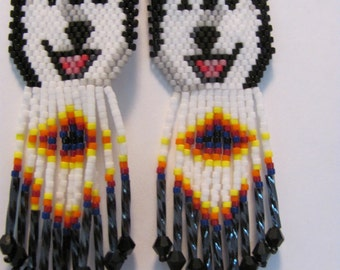 6 Hand Beaded  Laughing Black and white wolf, Alaskan Malamute, Husky dog earrings with diamond design in fringe