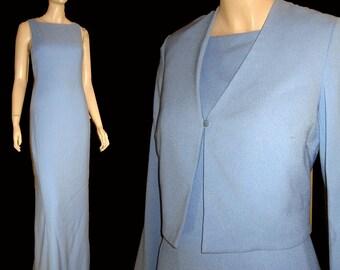 Vntg NICOLE MILLER Couture Lt Blue Gown w Crop Jacket UNWORN Bust 38 Wedding Prom