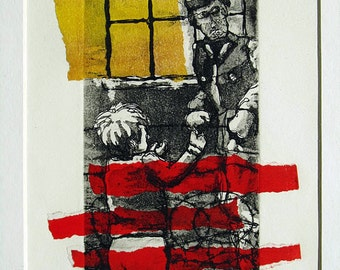 Opening (Berlin wall), Original Etching Chine-collé - free shipping