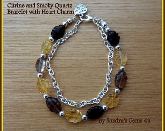 Citrine and Smoky Quartz Bracelet, November birthstone, matching Necklace and Earrings available
