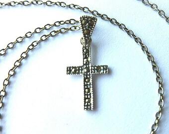 30% SALE Sterling Silver Cross, Marcasite Vintage Cross Necklace, Hallmarked Sterling Cross, 925 Sterling Cross, Silver Cross Necklace