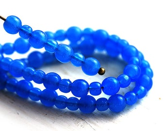 Electric Blue beads Mix, Czech glass round spacers, druk, small - 4-3mm - approx.110Pc - 0108