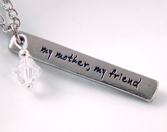 My Mother, My Friend Word Pendant Necklace - Crystal Bead - Gifts Under 20