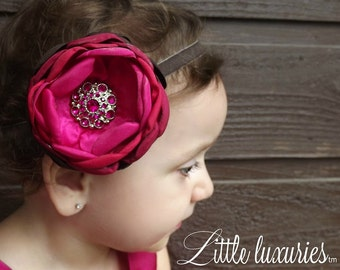 Pomegranate-  Red, Fuchsia,Burgundy and Chocolate Ombre Headband, Chocolate velvet headband, persnickety, photo prop, holiday headband