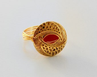 Gold Button Ring, Red Eye Button Ring, Gold Wire Ring, Wire Wrapped Ring, Red Enamel Ring