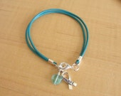 Teal Awareness Bracelet - Leather - PTSD, Myasthenia Gravis, Ovarian Cancer, Scleroderma, Tourette Syndrome, Interstitial Cystitis  & More