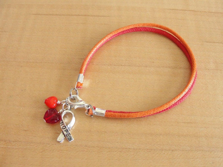 Orange And Red Awareness Bracelet Cotton