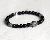 Pave And Black Onyx Bracelet - Black Jewelry for Stacking and Layering