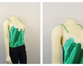 Vintage Camisole 80s Victoria's Secret Cami Green Satin Embroidered Lace Deadstock NWT Size Medium Modern Medium to Large