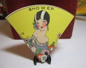 RESERVED Die cut unused art deco 1920's fan shaped bridal shower invitation pretty flapper with bobbed hair strapless gown deco flowers