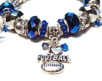Dallas Cowboys Euro-Syle Charm Bracelet with Swarovski Crystal Beads #CowboysNation