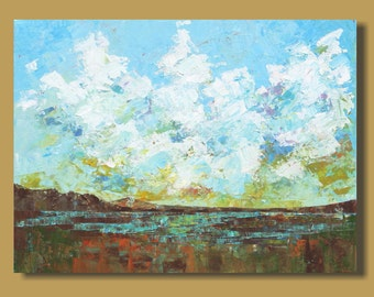 FREE SHIP abstract painting, marsh painting, impressionist painting, landscape painting, clouds, texture, expressionism 18x24 art on canvas