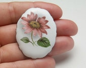 1930's Costume Jewelry Vintage Enamel Brooch Transfer Rose Pink Daisy Type Cottage Chic Flower Brass Pin Gift For Her on Etsy