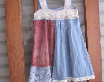 Boho Tattered rustic XS, boho bohemian gypsy rustic, vintage crocheted bodice, butterfly Babydoll dress, mini dress, vintage crochet tunic,