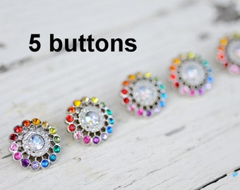 Rainbow Rhinestone Buttons - Set of 5 Limited Edition 21mm Plastic Acrylic Buttons - Rhinestone Buttons - Sunburst - Starburst