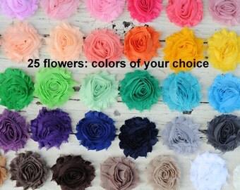 "Shabby Flowers - Chiffon Frayed Flowers - Fabric Flowers - Chiffon Fabric Flowers - 2.5"" Flower - You Pick Colors - Set of 25 - REGULAR"