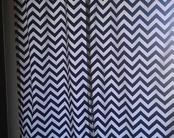 Navy Chevron Curtain Panels or Valance