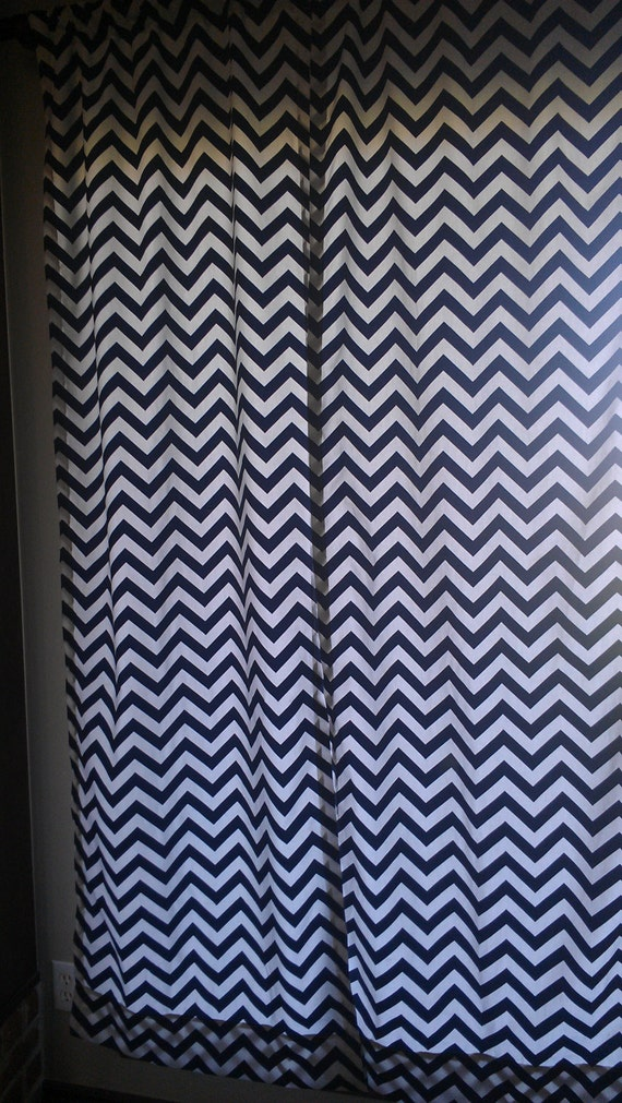 Navy chevron curtain panels or valance by designsbychristys