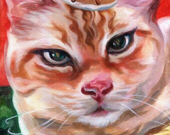 Canvas Print / Orange Striped Tabby Cat With A Pancake On His Head