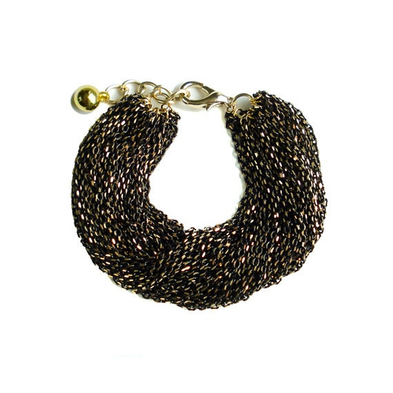 Multi Strand Chic Statement Chain Bracelet - Black